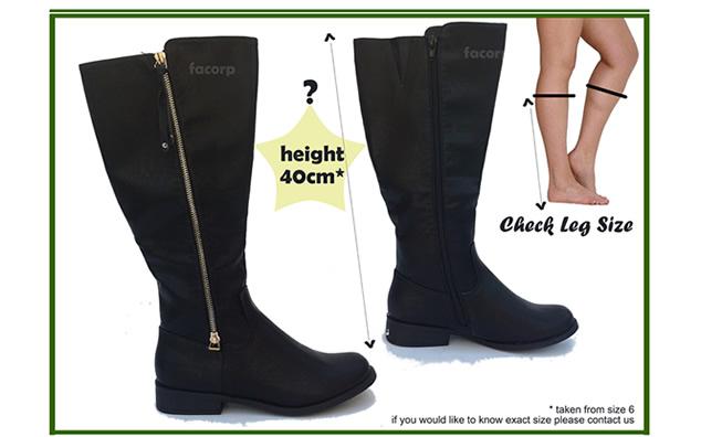 Womens black below knee high boots leather style winter biker ...